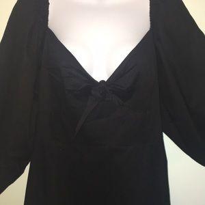 ASOS Dresses - ASOS black tie front puffy sleeve dress